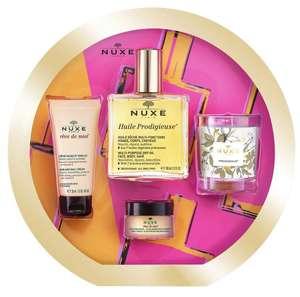 Coffret beauté Nuxe 2020 : Huile Prodigieuse (100ml) + Baume lèvres au miel (15ml) + Crème mains et ongles (30ml) + Bougie Prodigieuse (70g)
