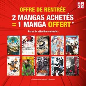 2 mangas Kazé achetés parmi une sélection = 1 manga supplémentaire offert - librairies participantes