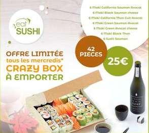 [Les mercredis] Crazy box 42 pièces de sushis et makis à 25€ (à emporter)
