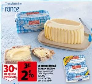 Le Beurre Moulé Paysan Breton - Doux ou Demi-Sel, lot de 2x250g