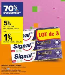 Lot de 3 dentifrices Signal Integral 8 - différentes variétés, 3 x 75ml (soit 3.98€ sur la carte)
