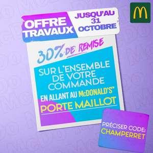 30% de réduction sur toutes les commandes - Paris Porte Maillot 17ème (75)