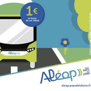 Trajet en car Aléop à 1€ ou trajet en train TER / car interrégional à 5€ dans toute la région Pays de la Loire - le mercredi 22 septembre