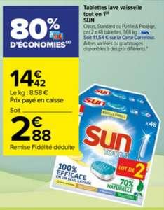 Lot de 2 X 48 tablettes lave vaisselle Sun Tout en 1 (Via 11.54€ sur la carte fidélité)