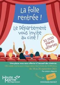 10 000 Places de cinéma gratuite dans 5 cinéma participants - Haute-Marne (52)