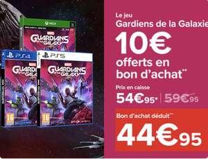 Marvel's Guardians of the Galaxy sur PS5, PS4 et Xbox Series X/One (+10€ en bon d'achat à valoir sur le rayon Jeux Vidéo)
