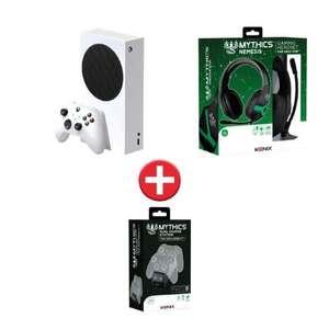 Console Microsoft Xbox Series S (512 Go) + Station de charge Manettes Konix + Casque-micro filaire Konix