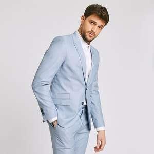 Sélection d'Articles en Promotion - Ex : Veste de costume slim matière reliefée stretch - Bleu Ciel, Tailles 48 à 58