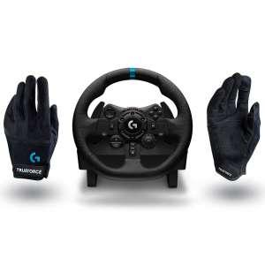 Volant Logitech G923 pour PS4 / PS5 / PC + Pédalier + Gants Logitech G Racing