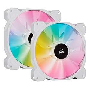 Pack de 2 ventilateurs PC Corsair iCUE SP140 RGB ELITE - Blanc, 140 mm + Lighting Node Core