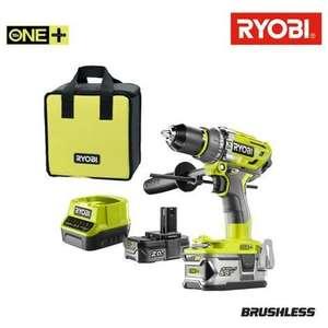 Perceuse sans fil Brushless RYOBI ONE+ R18PD7-252S 18V, 2 batteries 5&2Ah + 1 chargeur + sac de rangement