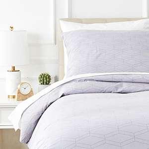 Parure de lit avec housse de couette en flanelle Amazon Basics - 140 x 200 cm/65 x 65 cm x 1, Gris rayé