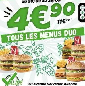 Menu Duo à 4€90 - Validé à Epinay sur Seine (93)