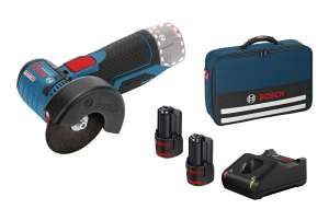 Meuleuse d'angle sans fil Bosch GWS 12V-76 + 2 Batteries (12V, 2Ah) + Chargeur GAL 12V-20 + 5 Disques + Sacoche (06019F200C)