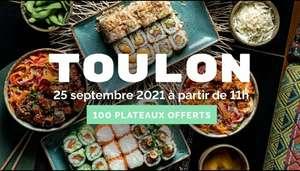 1 plateau de Sushi offerts aux 100 premiers clients (Toulon 83)