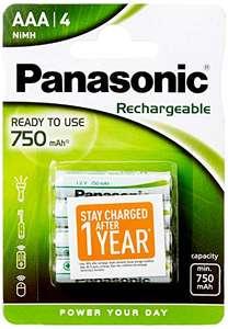 Lot de 4 piles rechargeable Panasonic Evolta - AAA, 750mAh