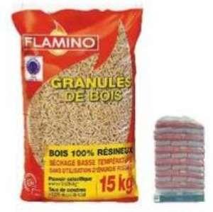 Palette de 77 sacs de granulés de bois Flamino - 77 x 15kg