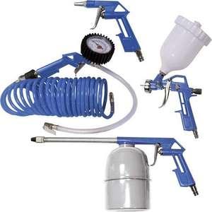 Lot de 5 accessoires pour compresseur Scheppach 3906101704 - tuyau 5m, pistolet de peinture, de gonflage & pulvérisateur, soufflette