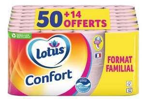 Pack de 64 rouleaux de papier toilette Lotus Confort Aquatube soit 0,20€ le rouleau
