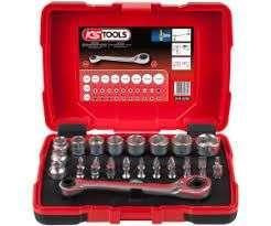 """Coffret de douilles traversantes KS Tools 918.3050 - 5 à 14mm, embouts de vissage 1/4"""", Tête inclinée à 15°, 32 pièces (Vendeur tiers)"""