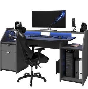 Bureau spécial gaming avec large plateau et leds - L180cm