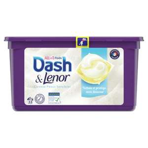 Boite de 33 Capsules de Lessive Dash & Lenor All in One - Différentes Variétés (via 7.46€ sur la carte + BDR de 3€)