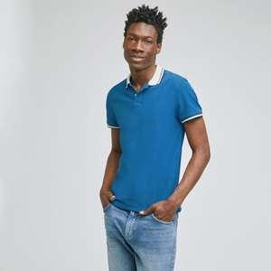 Sélection de vêtement en promotion - Ex: Polo manches courtes pique col contrasté - Bleu Dur (Du M au XXL)