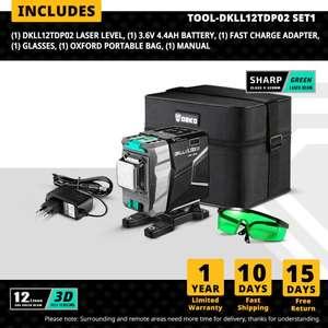 Sélection d'outils en promotion - Ex : Niveau laser 360° Deko - auto-nivelant 3D 12 lignes, Laser vert, 30m (Entrepôt France)