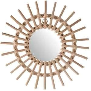 Miroir en rotin Soleil - Diamètre : 30 cm