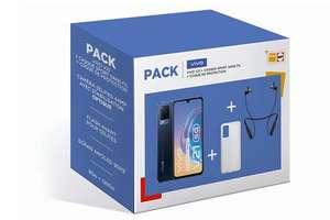 "Pack smartphone 6.58"" Vivo V21 5G (full HD+, Dimensity 800U, 8 Go de RAM, 128 Go, bleu) + coque de protection + écouteurs sans-fil"