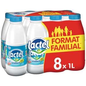 Lot de 2 packs de 8 bouteilles de lait demi-écrémé Lactel (16 x 1L)