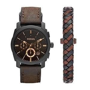 Montre Homme Chronographe Quartz Fossil FS5251SET - bracelet en cuir, 42 mm