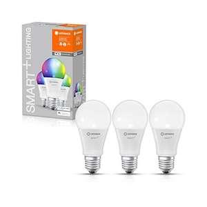 Lot de 3 ampoules connectées Wi-Fi Ledvance E27 - Blanc & couleur, 806 Lumens