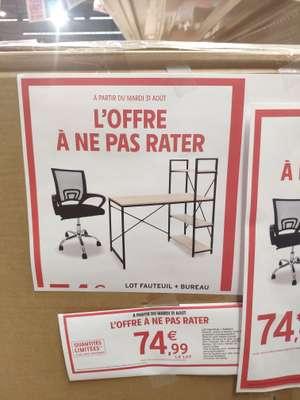 Lot bureau (120x60x74/122 cm) + fauteuil de bureau