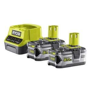 Lot de 2 batteries Ryobi lithium+ - 5.0 Ah & 1 chargeur rapide 2.0 A