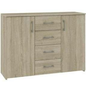 Commode Buffet moderne Elton - 4 tiroirs 2 portes, 110 x 80 x 35 cm (vendeur tiers)