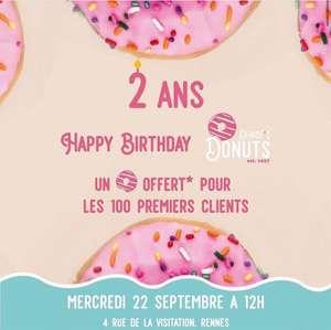 1 Donuts offert aux 100 premiers - Denises donuts Rennes (35)
