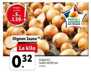 Filet d'oignons jaunes (Catégorie 1) - Calibre 40/60 mm, Origine France - 5Kg