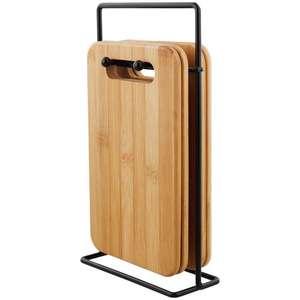Set de 4 planches à découper en bambou avec support (14x22cm)