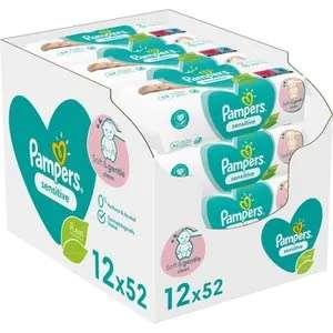 Lot de 12 paquets de 52 lingettes pour bébé Pampers Sensitive - 624 lingettes