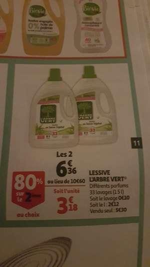 Lot de 2 bouteilles de Lessive L'Arbre Vert - 2 x 1.5L