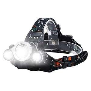 Lampe frontale LED Vomono - 3 LED - 15000 lumens - Rechargeable par USB - Étanche - Réglable à 90 °