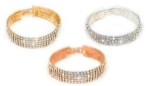 Lot de 2 bracelets 5 rangs ornés de cristaux Swarovski (plusieurs coloris)