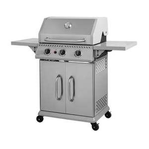 Barbecue à gaz 3 feux en inox Cooking Box - Surface de cuisson 60 x 42 cm, Tablettes rabattables, Roulettes, Pince inox offerte