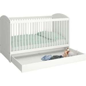 Lit bébé évolutif avec tiroir Tromsö - 70x140cm, Blanc laqué