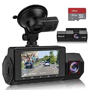 Caméra de Voiture Abask A8, 4K/ 1080P, Grand Angle de 310°, Vision Nocturne, avec carte SD 32G (max 256 Go) , Capteur G, WDR (Vendeur Tiers)