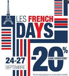 -20% en magasin et sur le site pour les French Days (hors exception)