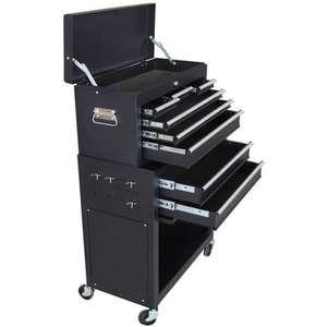 Servante d'atelier à outils 8 compartiments Manupro - Coffre malle rangement amovible - Acier, 65,8x61,6x33cm (HxlxP), Noir mat
