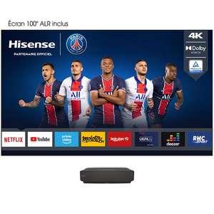 Vidéoprojecteur ultra courte focale Hisense 100L5F (4K, HDR10, Dolby Atmos, Smart TV, 2700 lumens) + Ecran 100'' anti-reflet (Via ODR 500€)