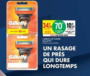 Pack de 12 lames Gillette Fusion (via 24,43€ sur la carte de fidélité)